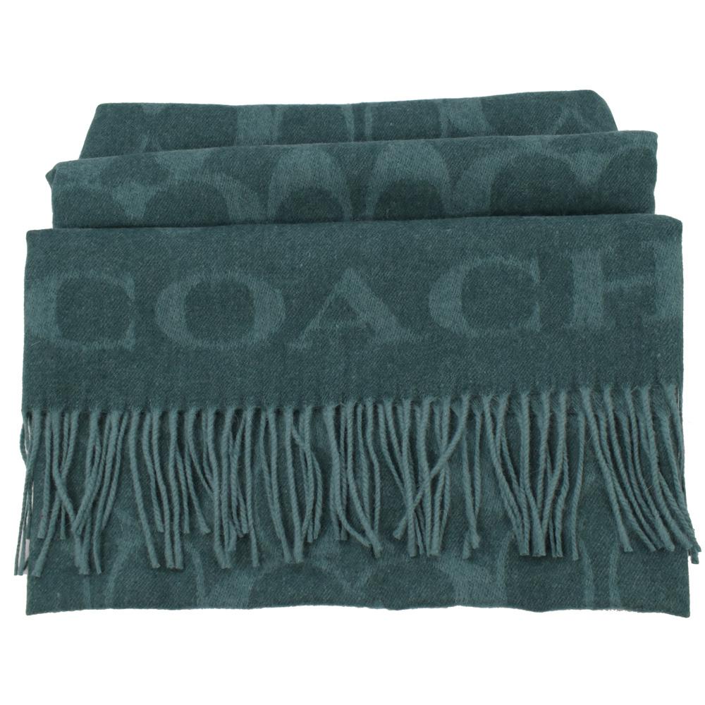 COACH大COACH LOGO字樣羊毛圍巾(綠)COACH
