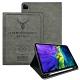 二代筆槽版 VXTRA iPad Pro 11吋 2020/2018共用 北歐鹿紋平板皮套 保護套(清水灰) product thumbnail 1