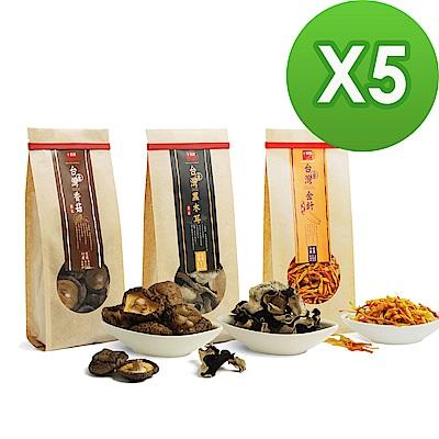 十翼饌 台灣原產乾貨組x5組 (新社香菇+黑木耳+金針)