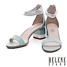 涼鞋 HELENE SPARK 摩登多層次繫帶撞色高跟涼鞋-綠