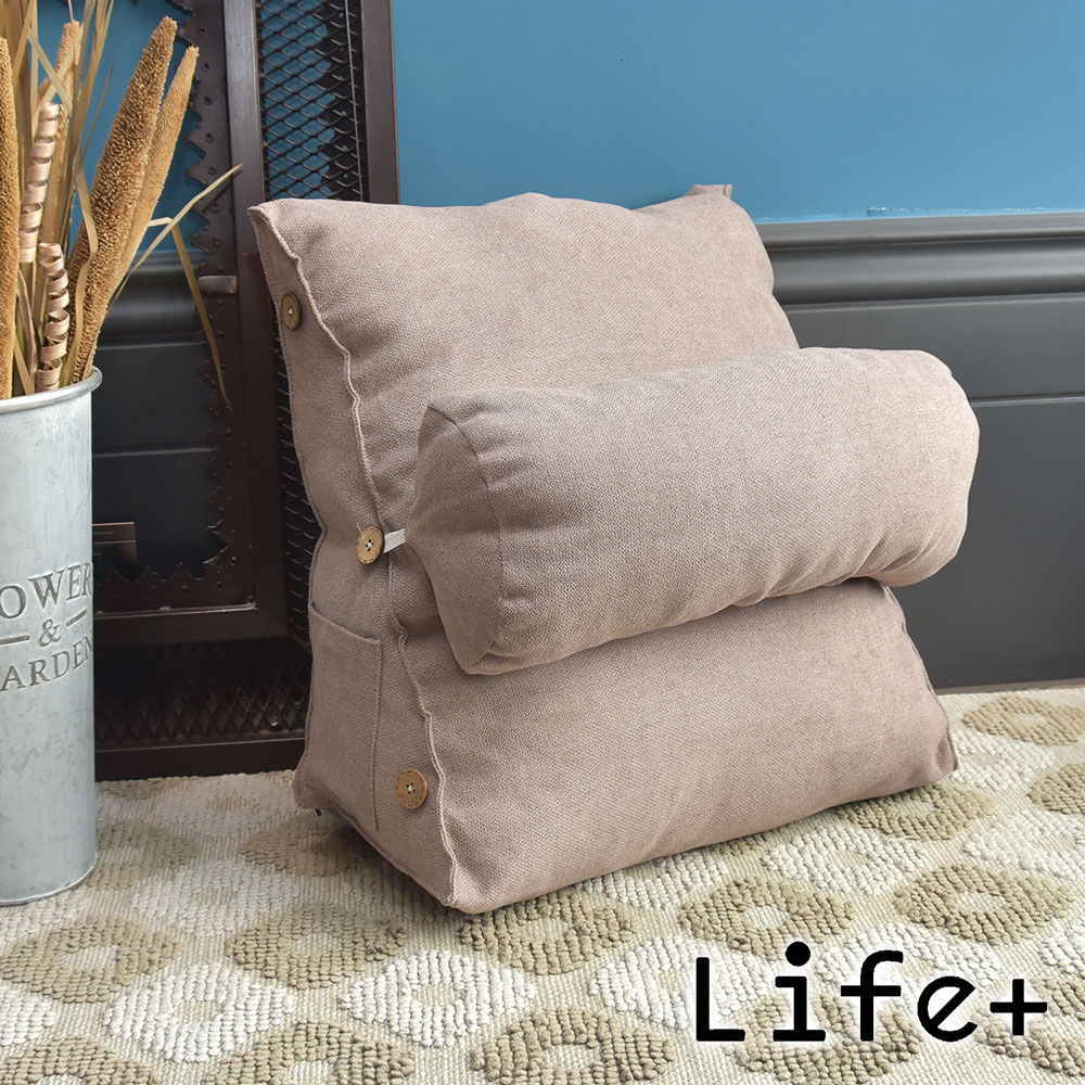 Life Plus 慵懶時光 舒壓萬用棉麻靠枕/抱枕/腰靠枕 (淺咖)