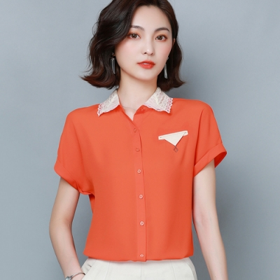 ALLK 配色雪紡衫上衣 橙紅色(尺寸M-XXL)