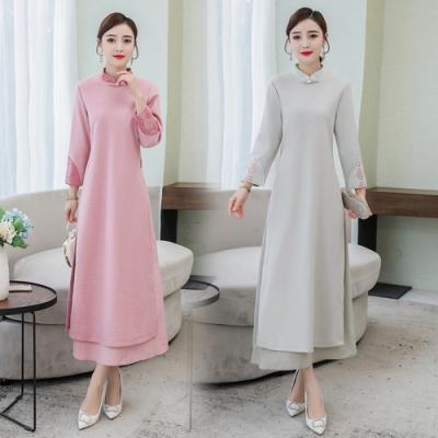 東方美人古典素雅立領刺繡改良旗袍M-3XL(共二色)REKO