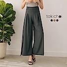 東京著衣 長腿歐膩前打褶側開岔高腰多色西裝寬褲-S.M.L(共三色)