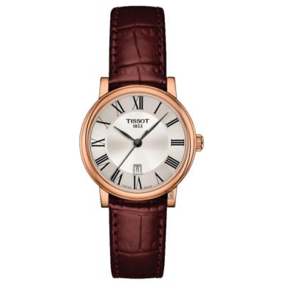 TISSOT 天梭 Carson 羅馬石英女錶-棕皮帶/30mm