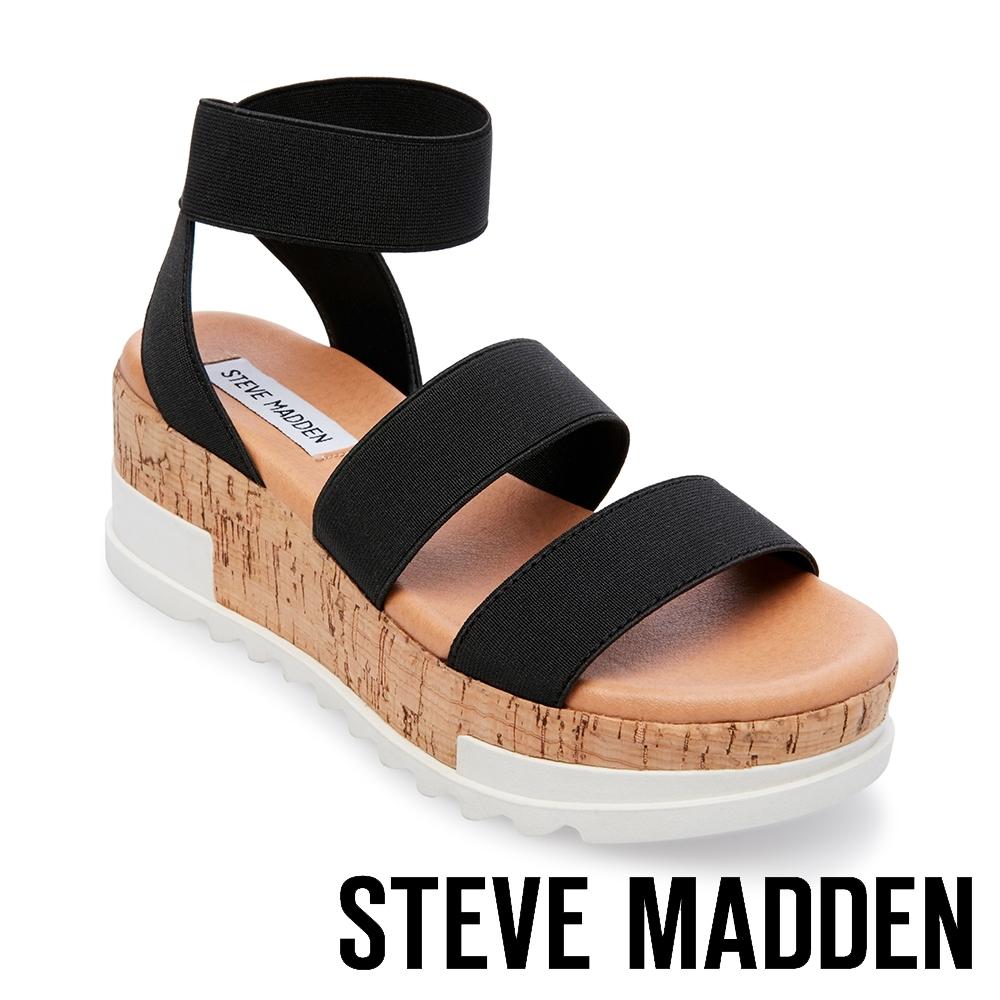 STEVE MADDEN-BANDI 彈性交叉束帶拼色厚底涼鞋-黑色