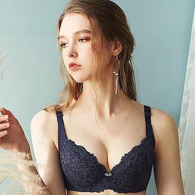 EASY SHOP-香頌物語 大罩杯B-F罩成套內衣(灰藍色)