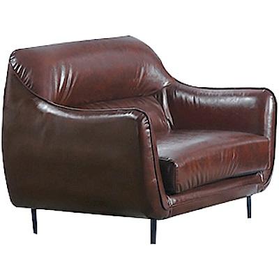 品家居 薛瑟夫工業風油臘皮革獨立筒單人座沙發椅-92x92x86cm免組