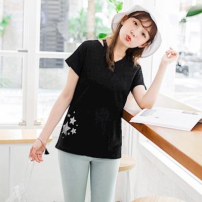 台灣製造.高含棉星星燙印設計鏤空V領上衣-OB大尺碼