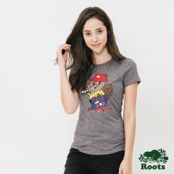 Roots 女裝-可愛海狸短袖T恤-灰