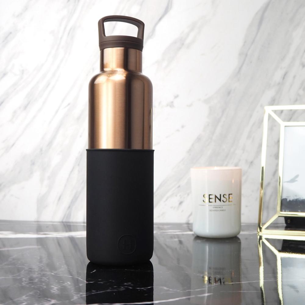 HYDY時尚水瓶CinCin Deco系列 午夜黑-古銅金 不鏽鋼保溫瓶590ml