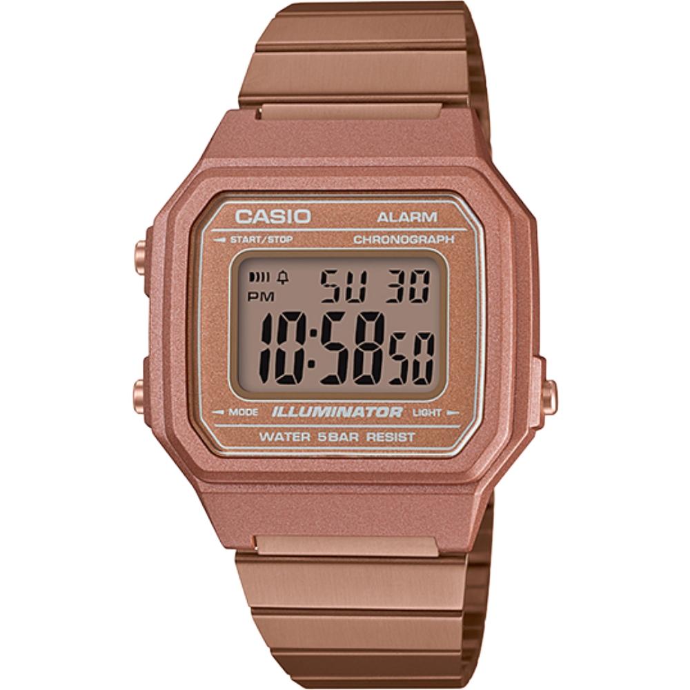 CASIO 復古文青風的大型數字數位錶-玫瑰金(B650WC-5A)/41mm