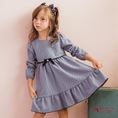 Annys安妮公主-氣質小點蝴蝶結秋冬款七分袖傘擺洋裝*0224水藍