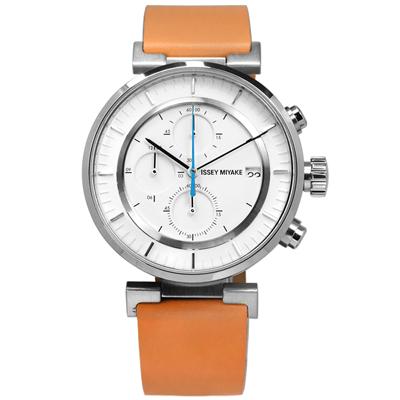 ISSEY MIYAKE 三宅一生 W系列 和田智設計師計時牛皮手錶-白x卡奇/43mm