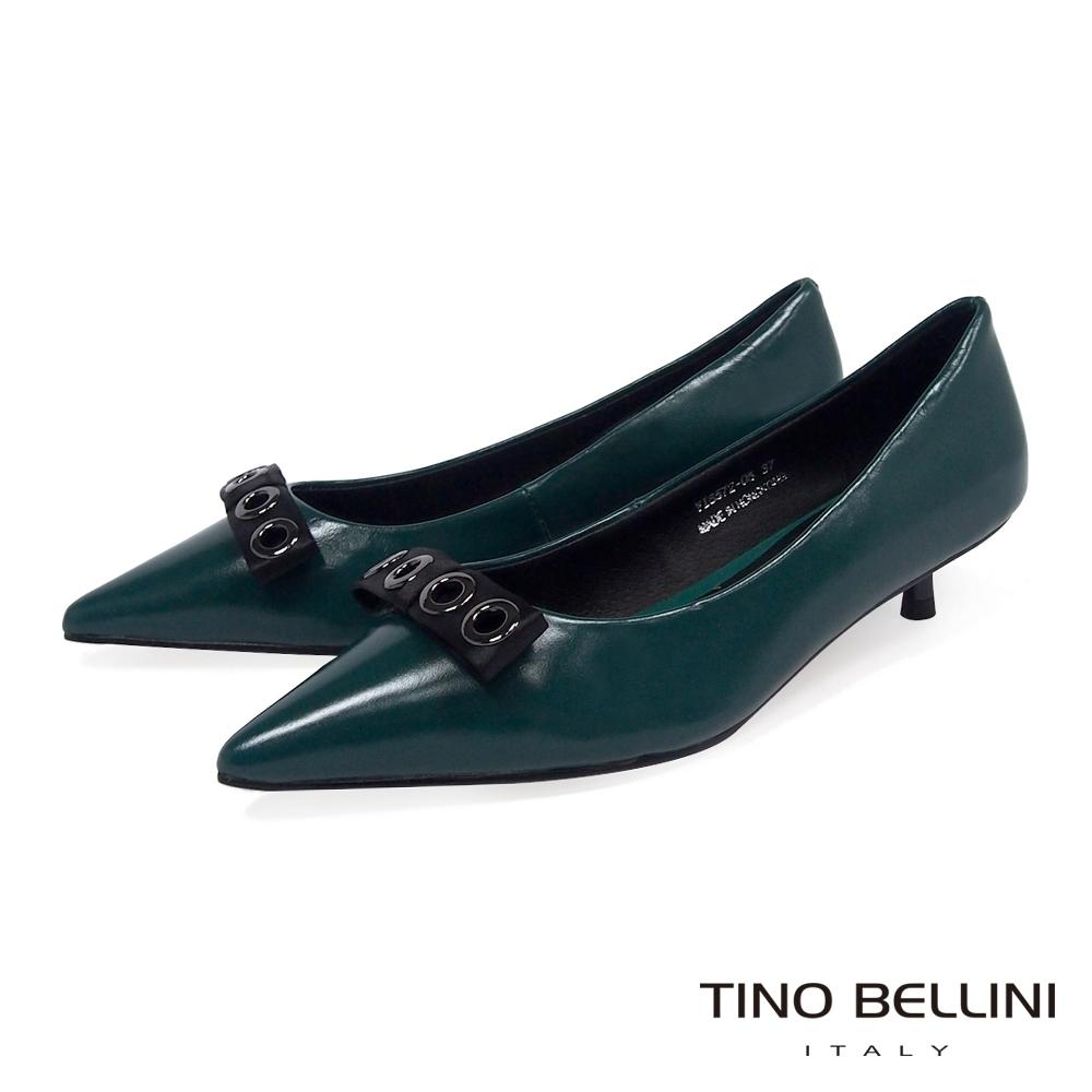 Tino Bellini緞面金屬飾釦尖楦低跟鞋_綠