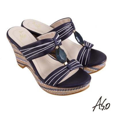 A.S.O 時尚流行 亮眼魅力樸質風格厚底涼鞋-藍