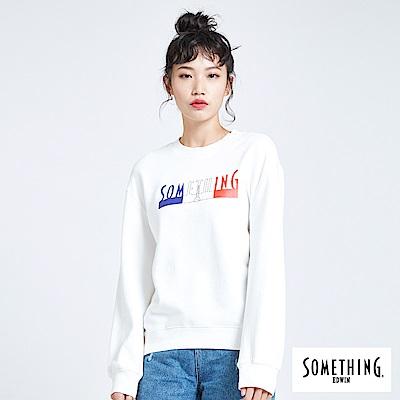SOMETHING 青春高校基本LOGO圓領長袖T恤-白色