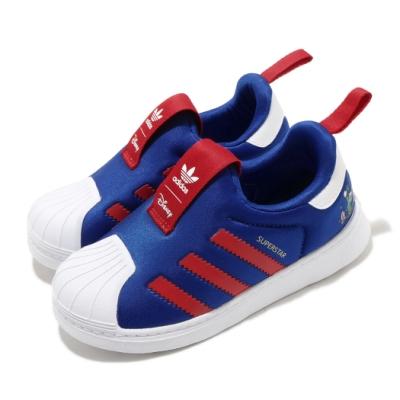 adidas 休閒鞋 Superstar 360 I 童鞋 愛迪達 三葉草 迪士尼聯名 高飛 小童 藍 紅 FW1990