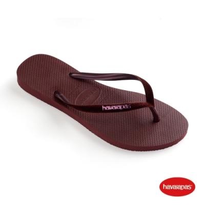 Havaianas 哈瓦仕 拖鞋 夾腳拖 人字拖 絲絨 巴西 女鞋 葡萄酒紅 4140265-4924W Slim Velvet