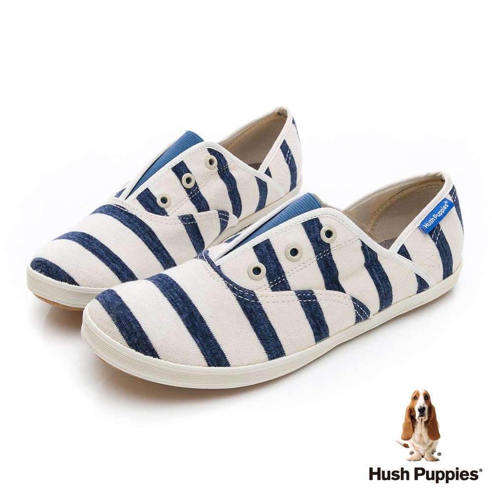 Hush Puppies 清爽條紋咖啡紗懶人帆布鞋-藍色