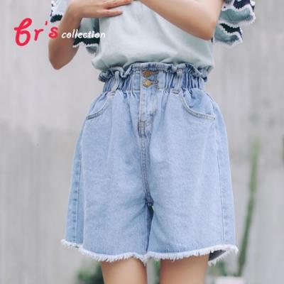 【brs】抽鬚鬆緊帶寬鬆牛仔短褲-2色