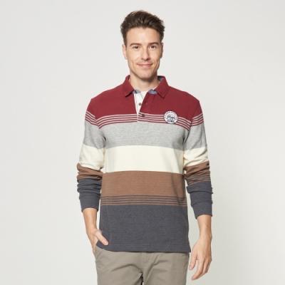 JEEP 撞色條紋厚棉長袖POLO衫 -紅木色
