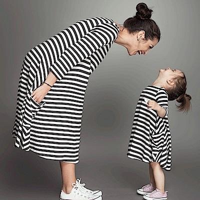 小衣衫童裝   日系親子款圓領長袖黑白條連身裙1070302