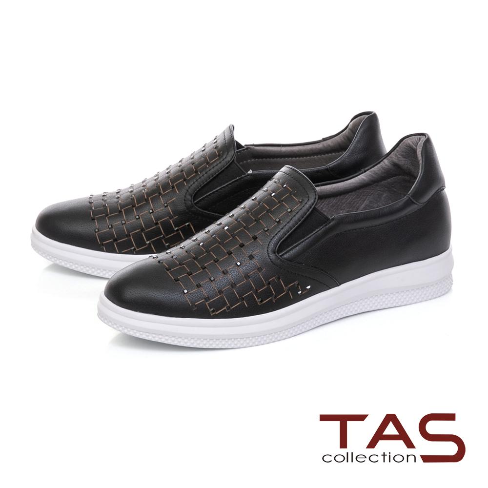 TAS 水鑽格紋編織素面牛皮休閒鞋-百搭黑
