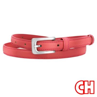 CH-BELT玫紅粉嫩彩色流行超細版女生皮帶腰帶(玫紅)
