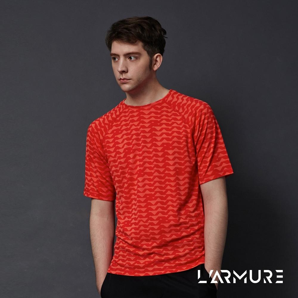 L'ARMUE 男裝 機能運動上衣 橘色 鋸齒紋