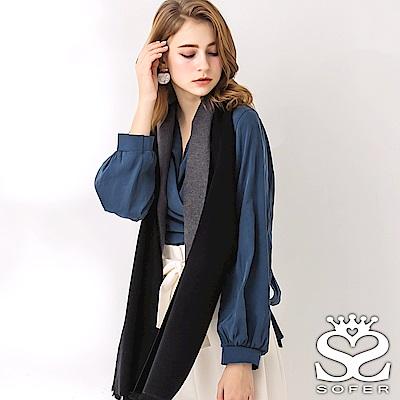 SOFER 雙面素色100%蠶絲圍巾 - 黑灰