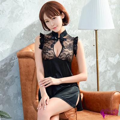 Sexy Cynthia黑色謎樣緹花柔緞旗袍-黑F