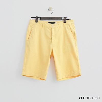 Hang Ten - 素色純面棉質短褲 - 黃