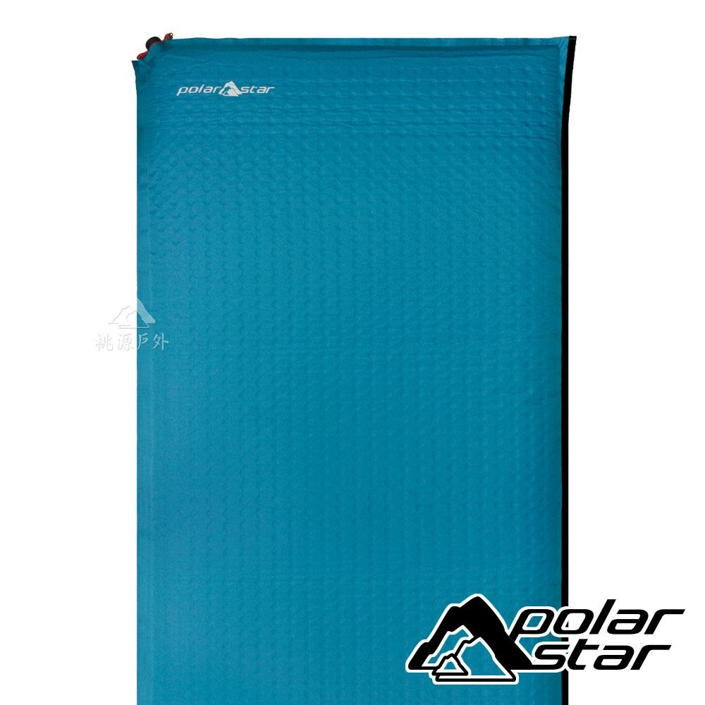 PolarStar【台灣製】自動充氣睡墊無枕頭6.35cm『青藍/小方格』P16800