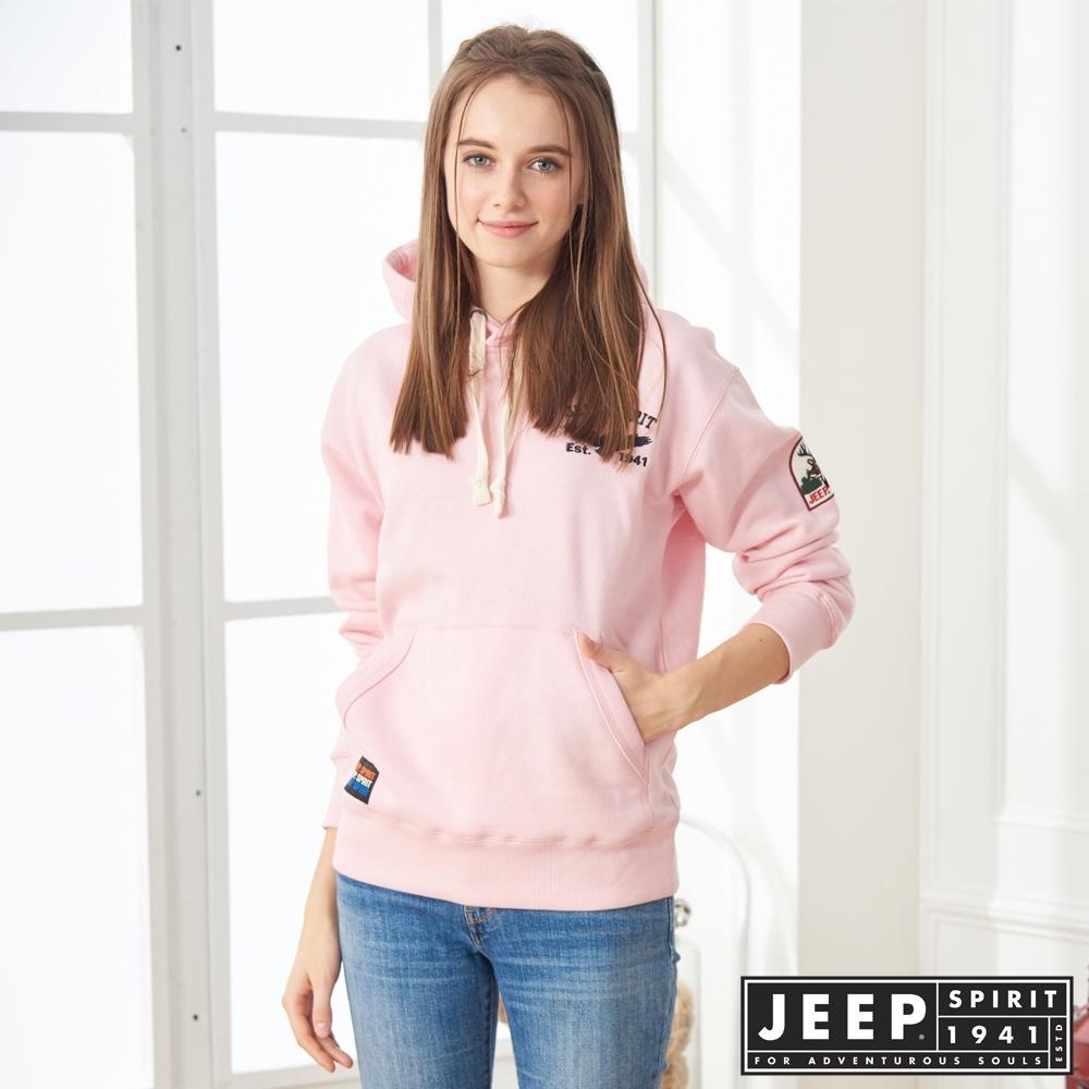 JEEP 女裝 簡約圖騰刺繡連帽TEE-男女適穿 -粉色
