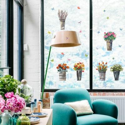 半島良品 DIY北歐風無痕壁貼 SK7106- 復古鐵桶花盆栽 50x70