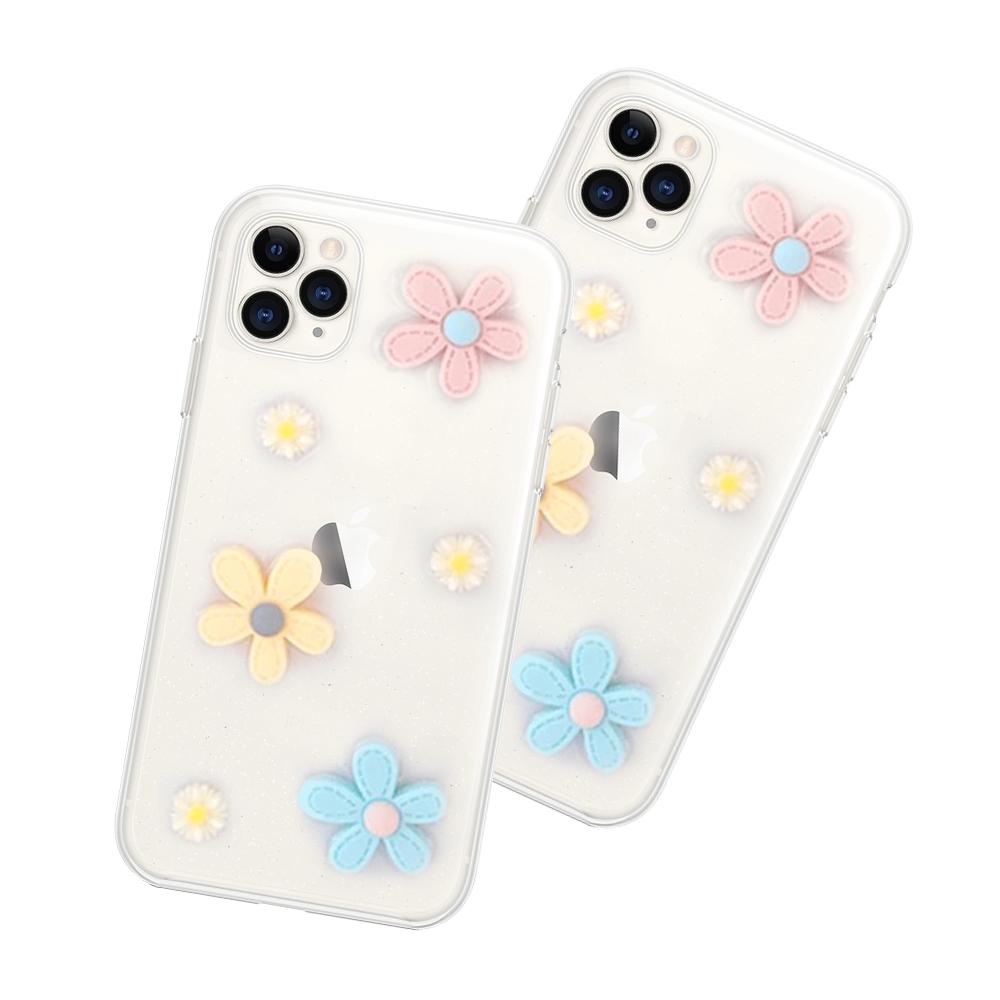 iPhone 11 Pro 滴膠閃粉 小花 透明 手機殼 軟殼-11Pro小花*1