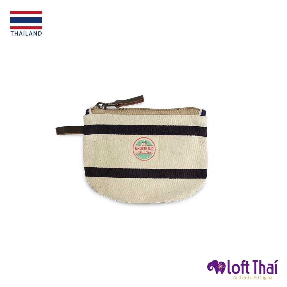 Loft THAI | 泰.半圓型帆布零錢包 | Stripe/navy