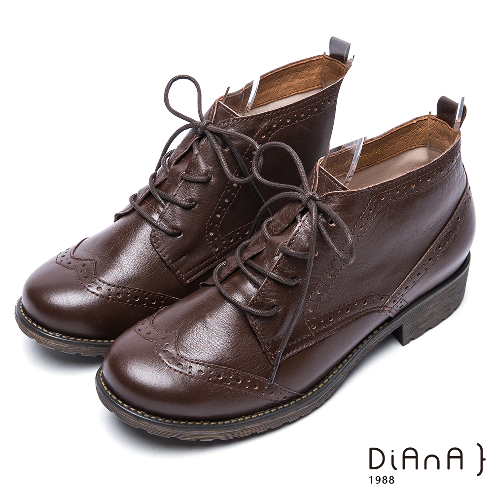 DIANA牛津雕花綁帶真皮短靴-復古英倫-咖