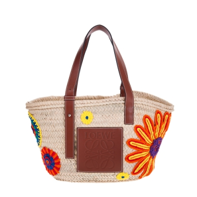 LOEWE 新款Basket 編織花朵毛線貼皮革拉菲草藤編中款托特手提包