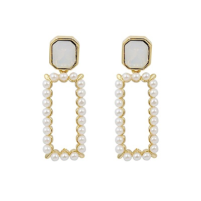 Prisme美國時尚飾品 晨光珍珠 金色耳環 耳針式