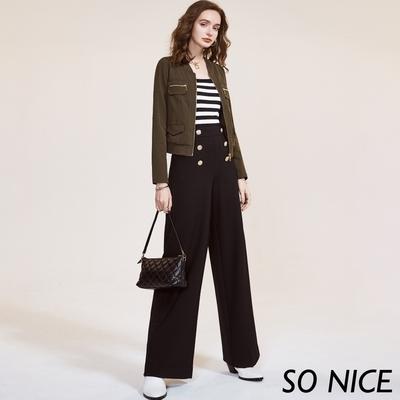 SO NICE時尚金屬釦羅馬布寬褲