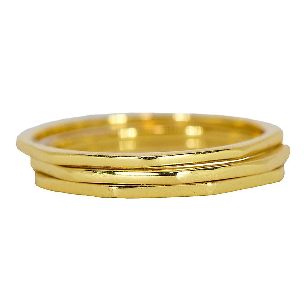 Pura Vida 美國手工 八角幾何造型金色戒指 3件組