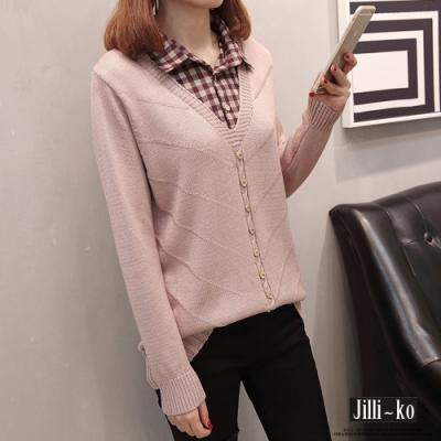 JILLI-KO 格紋帶領假兩件針織襯衫- 粉/黑