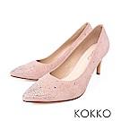 KOKKO - 典雅花樣尖頭璀璨高跟鞋- 杏裸膚