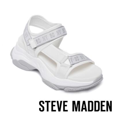 STEVE MADDEN-MAGNITUDE 前衛粗帶舒適氣墊涼鞋-白色