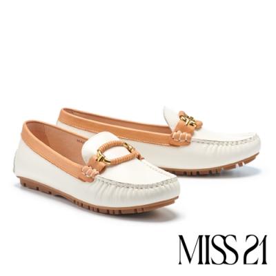 平底鞋 MISS 21 精緻都市品格全真皮方頭樂福平底鞋-白