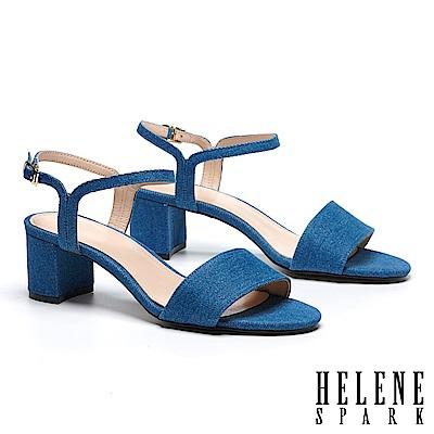 涼鞋 HELENE SPARK 率性一字造型細帶牛仔布粗高跟涼鞋-藍