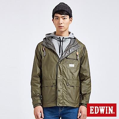 EDWIN 冒險旅行探險森林雙面外套-男-橄欖綠