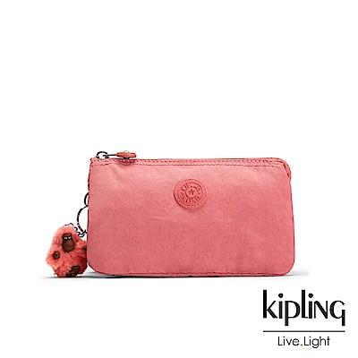 Kipling薔薇粉渲染素面配件零錢包(中)